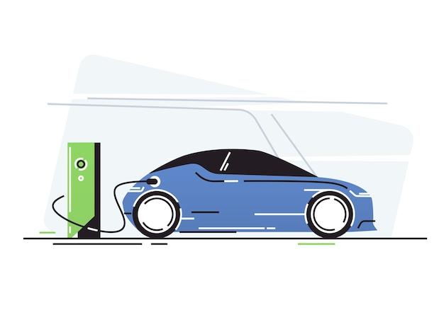 Elektrische auto bij laadstation voor voertuigen.