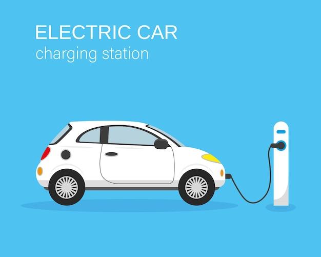 Elektrische auto en laadstation op blauwe achtergrond