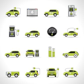 Elektrische auto iconen