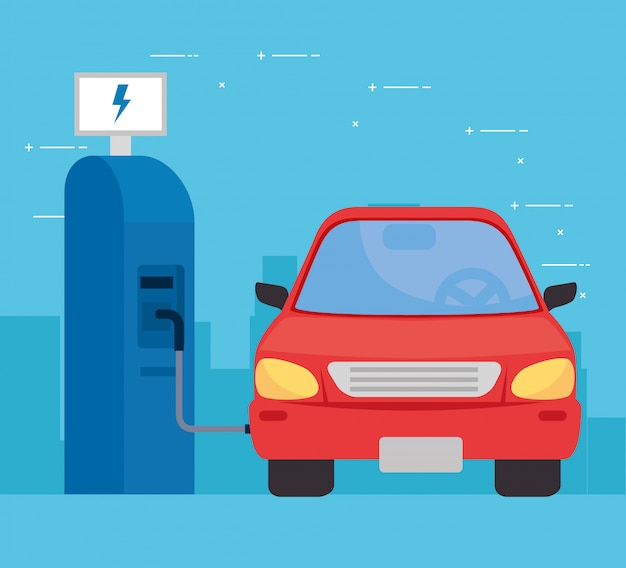 Elektrische auto in laadstation weg