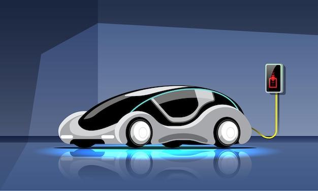 Elektrische auto in moderne stijl wordt opgeladen in de krachtcentrale van de garage