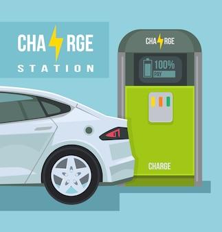 Elektrische auto laadstation cartoon afbeelding
