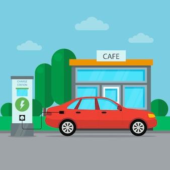 Elektrische auto laadstation pictogram met café