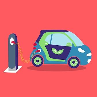 Elektrische auto laadt straat op