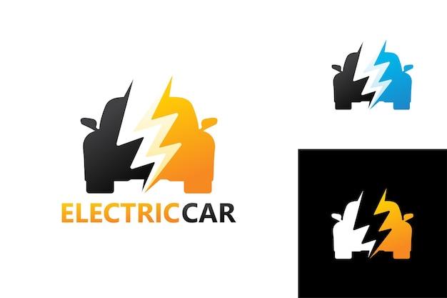 Elektrische auto logo sjabloon premium vector