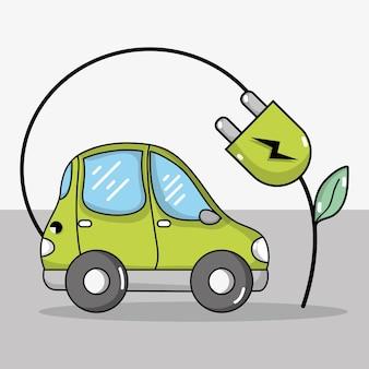 Elektrische auto met ecologie stroomkabeltechnologie
