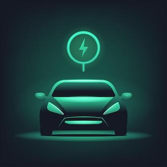 Elektrische auto met groen gloeien op donkere achtergrond.