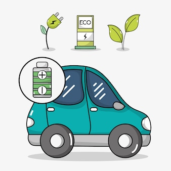Elektrische auto met oplaadstation voor energie
