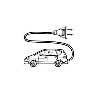 Elektrische auto met stekker hand getrokken schets doodle pictogram. eco-auto opladen en opladen, groen aandrijfconcept. schets vectorillustratie voor print, web, mobiel en infographics op witte achtergrond.