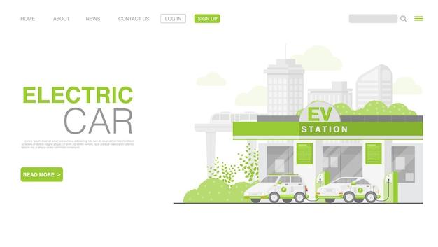 Elektrische auto of elektrische auto op de bestemmingspagina van het laadstation premium vector