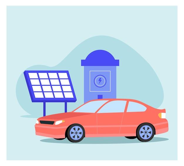Elektrische auto opladen achtergrond in plat concept
