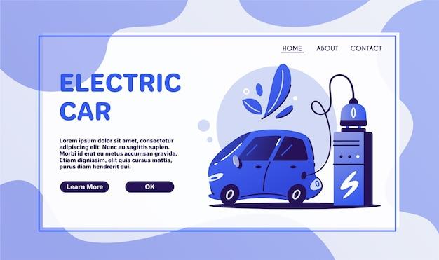 Elektrische auto. opladen concept. eco stad. ecologische problemen. electrocar ontwerp.