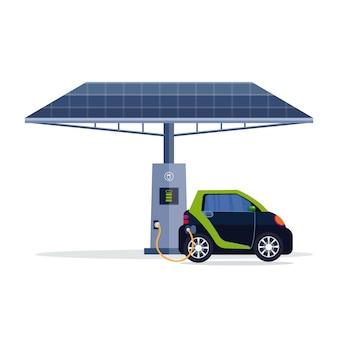 Elektrische auto opladen op elektrisch laadstation met zonnepaneel hernieuwbare eco-technologieën schoon transportmilieu zorgconcept