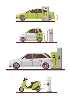 Elektrische auto's en scooters op laadstation eco vriendelijke voertuigset