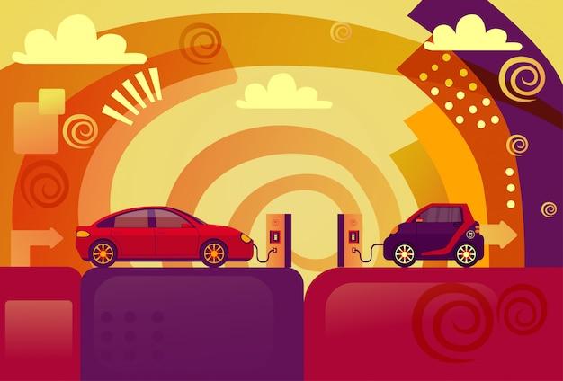 Elektrische auto's op laadstation concept
