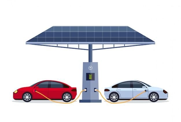 Elektrische auto's opladen op elektrische laadstation met zonnepaneel hernieuwbaar milieuvriendelijk voertuig schoon transportmilieu zorgconcept horizontaal