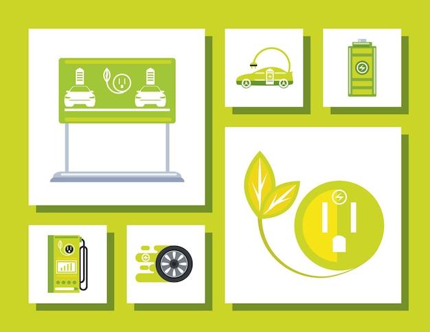 Elektrische auto station pomp wiel batterij ecologie pictogrammen illustratie