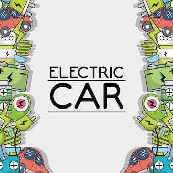 Elektrische autotechnologie aan ecologiezorgachtergrond