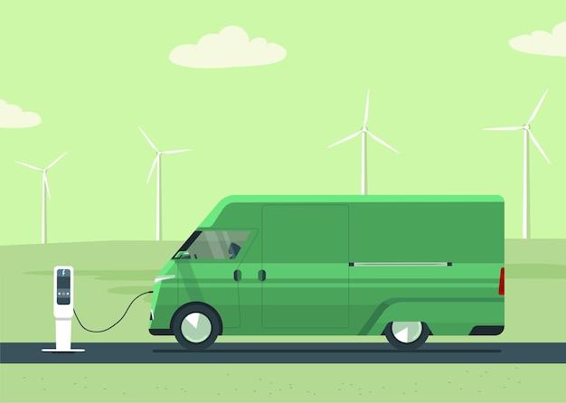 Elektrische bestelwagen op landschap en windturbines.