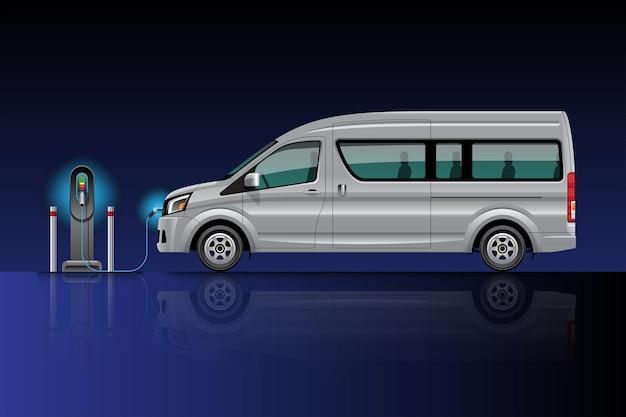 Elektrische bestelwagen opladen bij laadstation. ev-voertuig. geïsoleerd op blauw-zwarte achtergrond.