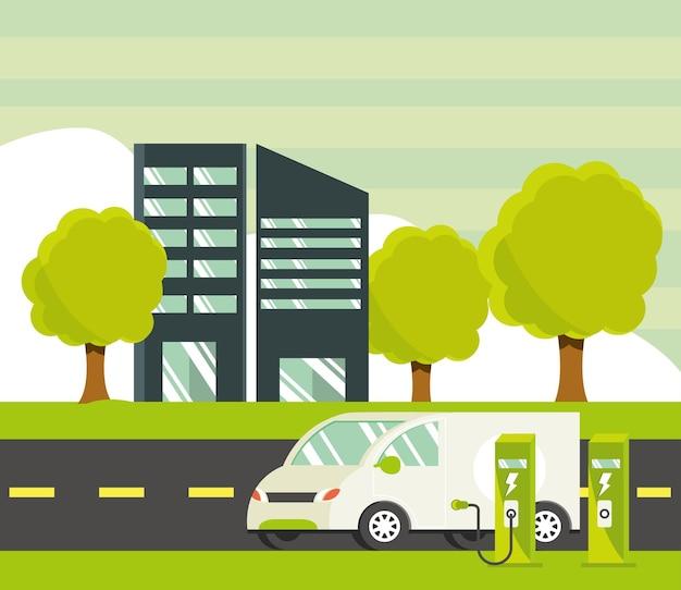 Elektrische bestelwagen opladen in de stad
