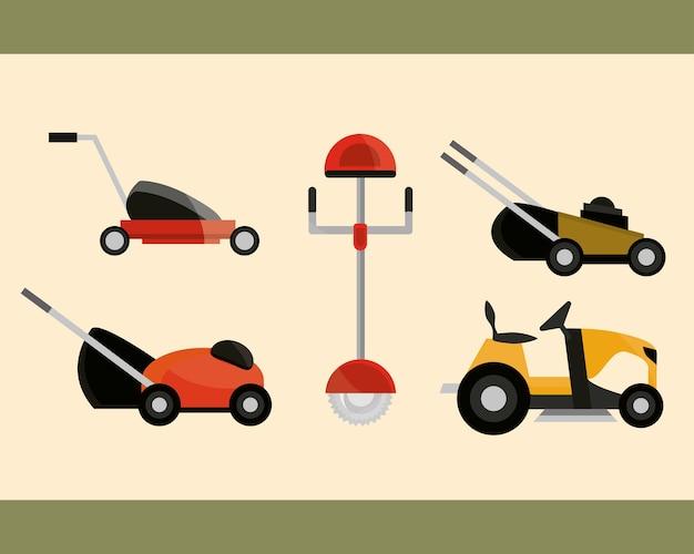 Elektrische en handmatige grasmaaiers apparatuur collectie illustratie