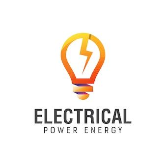 Elektrische energie met gloeilamp kleurovergang logo ontwerpsjabloon