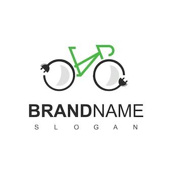Elektrische fiets logo design vector, eco vriendelijke fiets symbool