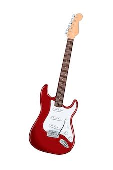 Elektrische gitaar van veelkleurige verven gekleurde tekening realistisch