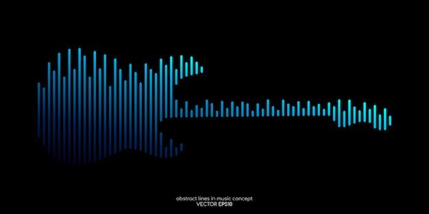 Elektrische gitaar vorm door equalizer lijn patroon blauw geïsoleerd op zwart