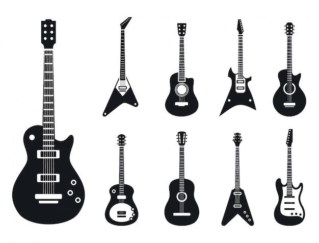 Elektrische gitaarpictogrammen geplaatst, eenvoudige stijl