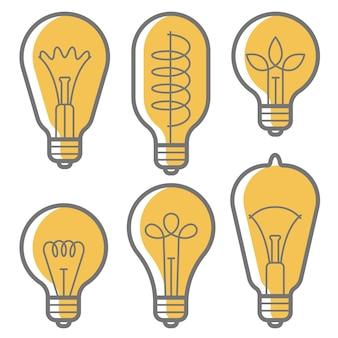 Elektrische gloeilamp lamp pictogrammalplaatje ingesteld voor poster van creatief nieuw helder idee op witte achtergrond