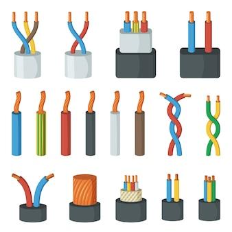 Elektrische kabeldraden, verschillende stroomsterkte en kleuren. vectorillustraties in cartoon stijl