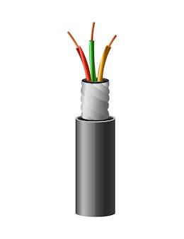Elektrische koperen kabel. elektrische draad.