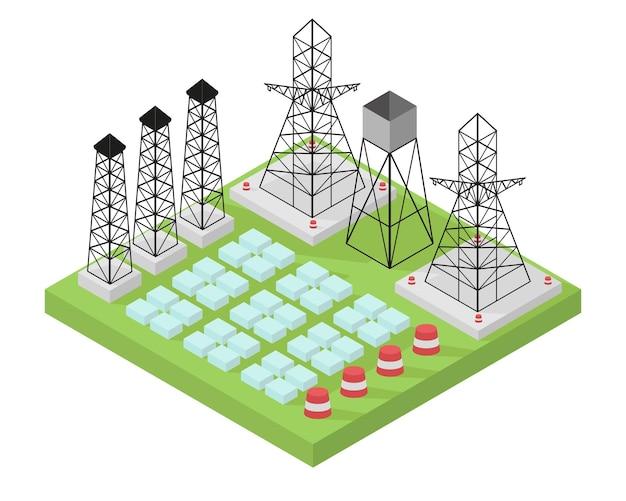 Elektrische krachtcentrale met stroompalen en batterijen. illustratie in isometrische stijl.
