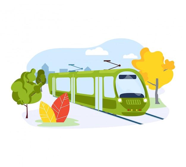 Elektrische metro, stedelijk openbaar vervoersysteem op wit, illustratie. ecologie zorg natuur metro voertuig.
