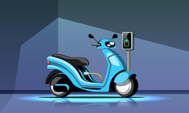 Elektrische motorfiets met voedingskabel en stekker
