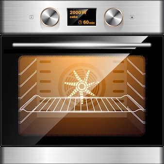 Elektrische oven in roestvrij staal en glas. elektronische bediening. keuken apparatuur.