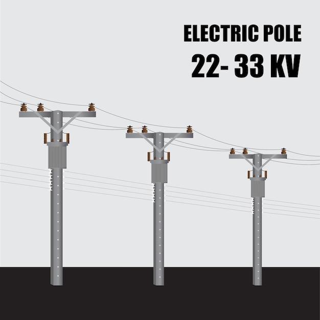 Elektrische paal. de betonnen paal 22-33 kv van de hoogspanningsmacht in thailand. elektrische krachtoverbrenging.