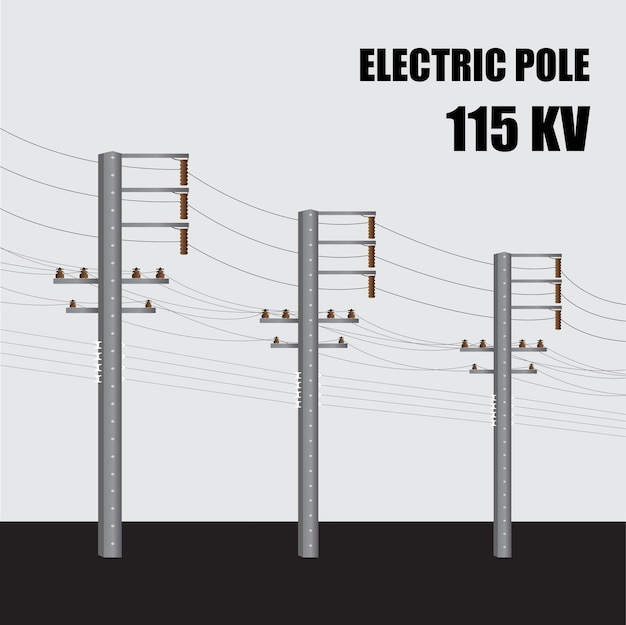Elektrische paal. hoogspanningsmacht betonnen paal 115 kv in thailand. elektrische krachtoverbrenging.