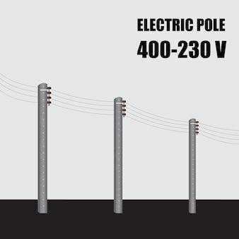Elektrische paal. hoogspanningsstroom betonnen paal 400-230 v in thailand. elektrische krachtoverbrenging.
