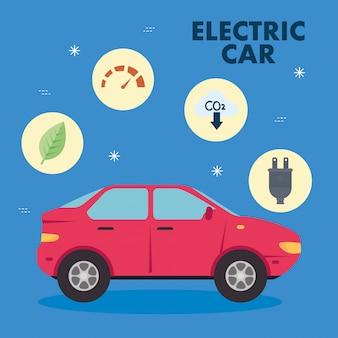 Elektrische rode auto met pictogram vastgesteld vectorontwerp