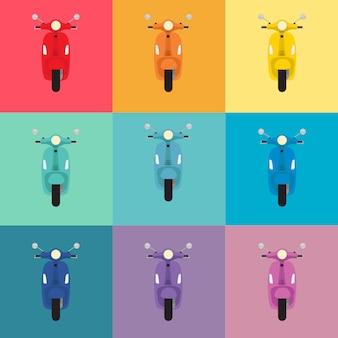 Elektrische scooter collectie kleurrijk ontwerp
