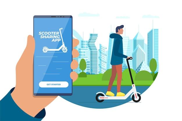Elektrische scooter die mobiele app deelt met rijdende man eco transport online verhuurservice-applicatie