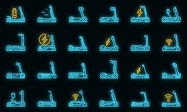Elektrische scooter pictogrammen instellen vector neon