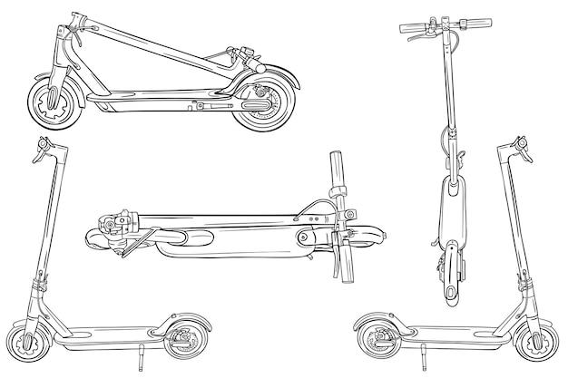 Elektrische scooter schets set. modern vervoer.