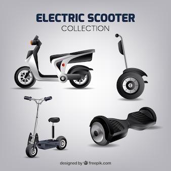 Elektrische scooters met realistische stijl