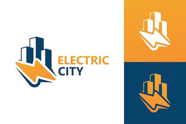 Elektrische stad logo sjabloon premium vector