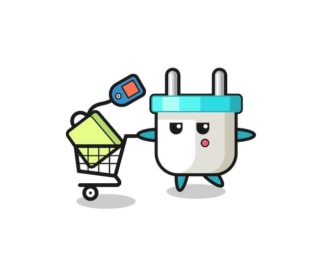 Elektrische stekker illustratie cartoon met een winkelwagentje