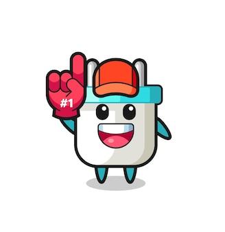 Elektrische stekker illustratie cartoon met nummer 1 fans handschoen